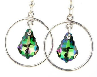 Sterling Sillver Earrings made with Electra/Green Swarovski crystal