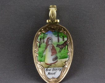 Vintage Little Red Riding Hood And Big Bad Wolf Enamel Spoon Pendant