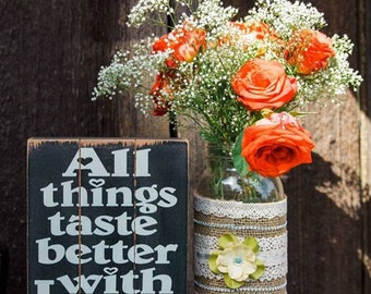 Burlap Lace Mason Jar - Rustic Wedding Decor - Rustic Mason Jar - Burlap Flower Vase