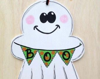 Boo ghost wood sign, Halloween door hanger, autumn decoration, trick or treat