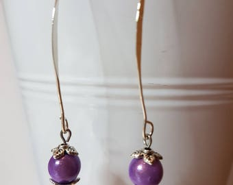 Earrings lilac magic beads