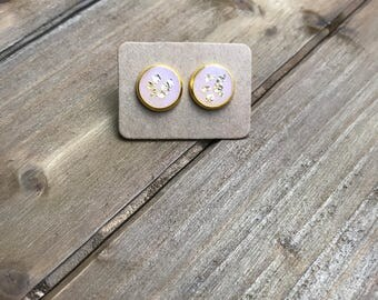 Pink and gold earrings, gold flake earrings, pink stud earrings, handmade jewelry, 10mm, gold glitter earrings, pink earrings, gold studs