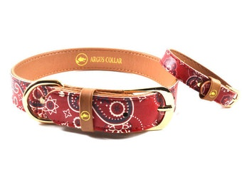 """The """"Bandana Classic"""" Collar / Dog collar with matching friendship bracelet for the owner / Bandana red dog collar / paisley pattern collar"""
