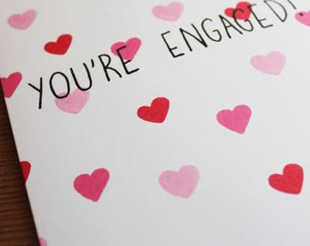 "You're Engaged! / 5x7"" LOVEHEART GREETINGS CARD"