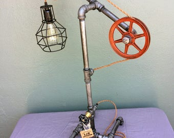 Industrial Steampunk Pulley Lamp, Pulley Lamp, Industrial Lighting, Table Lamp, Desk Lamp, Edison Lamp, Steampunk Lamp, Industrial Chic