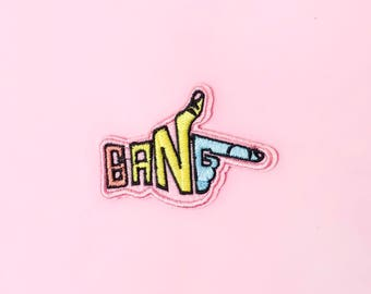 Pastel Colors Bang Iron On Patch, punk patch, custom patch, kawaii patch, pastel goth patch, pastel grunge patch, embroidered patch, gun