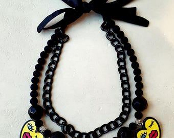 Face necklace. Stylish necklace. Handmade necklace. For visagistes