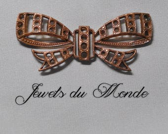 Vintage French Art Deco Bow Ribbon Rhinestone Paste Stone Setting Brass Die Casting 347J