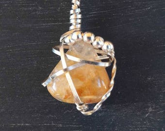 Citrin, citrine, Moonstone, citrine pendant jewelry, stones, boho, wire wrap, nickel silver, stranded wires, necklace, jewelry for her