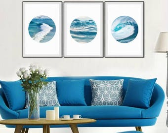 Set of 3 Ocean photography nautical decor, waves abstract, ocean wall decor, large wall art print, blue decor, abstract print photo download