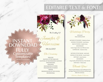 Floral Marsala Cream Wedding Program Template