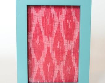 Pink Ikat in Blue frame 10 x 15cm
