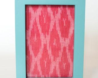 Pink Ikat in Teal frame 10 x 15cm