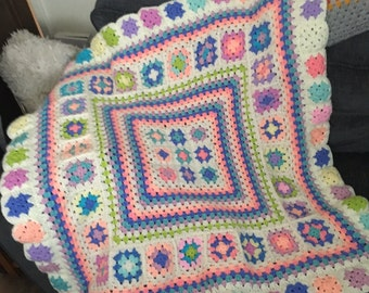 Vintage Style Small Square Collage Crochet Blanket