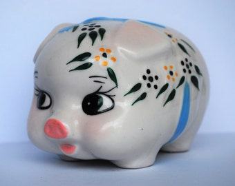VINTAGE Kitsch and Cute, Large Handpainted Big Eyed and Floral Piggy Bank