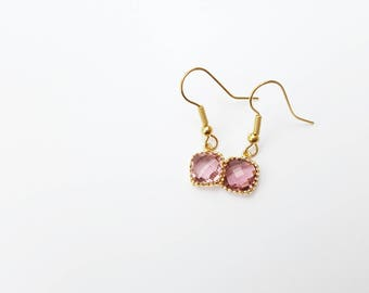 Crimson + Gold Square Glass Dangle Earrings - Valentine's Day Gift- Gift for Her - Romantic Jewelry