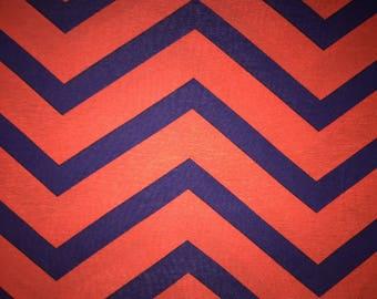 Blue and Orange Chevron - Cotton Spandex Knit