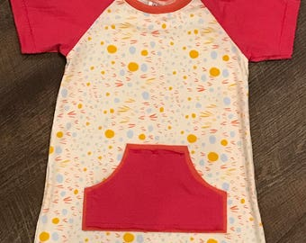 Toddler girls short sleeve raglan shirt dress/children clothing/baby clothing/spring clothing/