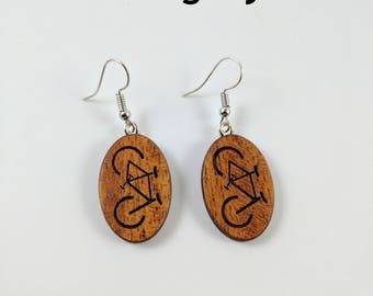 Wood Earrings - Laser cut earrings - laser engraved jewelry - Bicycle jewellery - I want to ride my bicycle