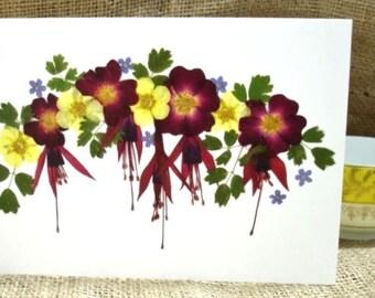 Blank Card, Birthday Card, Anniversary Card, Wedding Card, Thank You Card, Card For Gardeners, Congratulations, English Pressed Flower PRINT