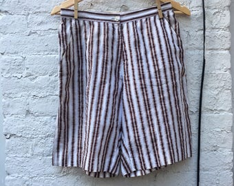 Vintage French Striped Cotton Shorts | High Waisted Shorts | Size 6 | Women's Vintage Clothing