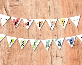 Rainbow Birthday Bunting, Kids Party Invitations, Rainbow Party, Rainbow Bunting, Printable Bunting, Printable Decorations, Party Bunting