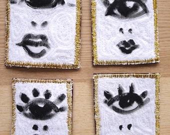 Broche arty 'Cyclope'. Peinture à porter. Broche textile, tableau à porter, broche brodée, sérigraphie