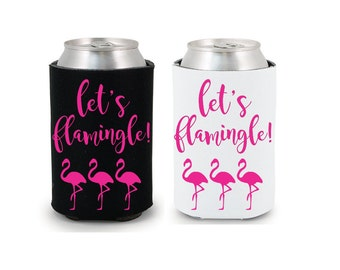 Let's Flamingle Drink Coolers Pink Flamingo Party Favors Black White Drink Cooler Favors Bachelorette Party Survival Kit Bottle Can Holders