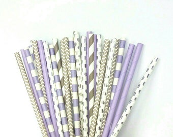 Lavender and Silver Paper Straws - Silver, Gray and Light Purple Drinking Straws - Purple and Silver Wedding Decorations - Purple Birthday