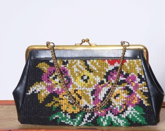 Vintage 60s tapestry bag /  embroidered purse / floral handbag / needlepoint bag