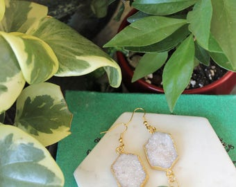 Hexagon Rainbow White Druzy and Jade Gold Wire Wrapped Earrings. Womens Crystal Statement Dangle Jewelry