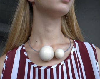 Beige Minimalist Wooden Necklace 2 Balls