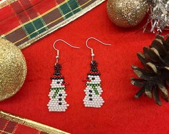 Snowman Earrings, Christmas Earrings, Winter Earrings, Snowman, Christmas, Winter, Holidays, Beads, Handmade, Gift