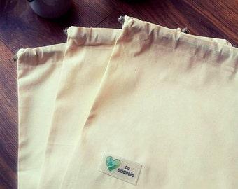 3 Handmade Organic Cotton Produce Bags