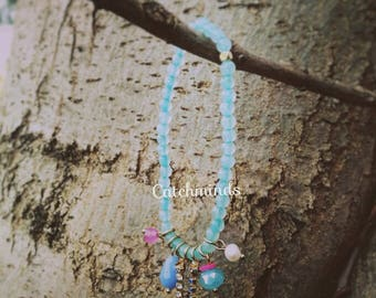 Casual sea blue Beaded Bracelet with Hanging tassel, Crystal, pearl, Bead, Chain, Charm ready to wear everyday