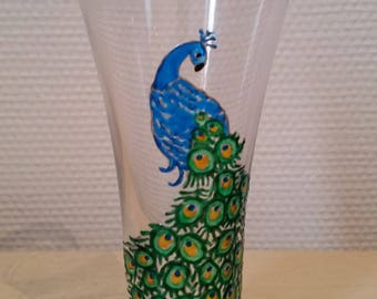 Painted glass: Blue Peacock