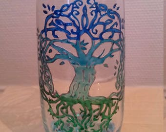 Water glass painted - tree of life Celtic-style