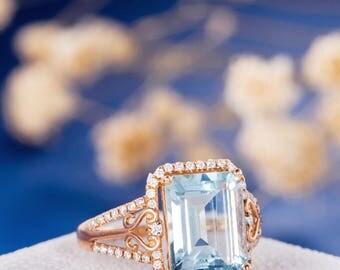 Aquamarine Engagement Ring Rose Gold Emerald Cut Art Deco Ring Flower Diamond Retro Anniversary Antique Vine March Birthstone Women Filigree