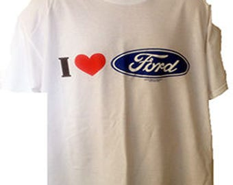 New Womans Mens Unisex Graphic Official Ford Logo  I Love Ford  White Cotton T Shirt