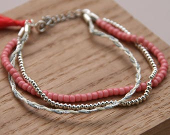 Bracelet Séraphine (Coral & silver)