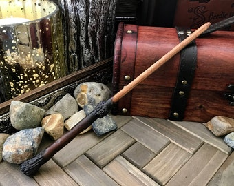 Hand Made Wizard Wand and Optional Pocket Spell Book- The Rustic Wand is 12 Inches with a Base Inspired by Harry Potter's First Wand