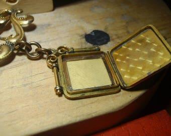 early 1900s locket pin bar assembly brooch