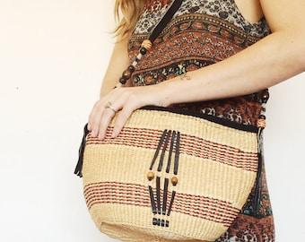 Vintage Weaved Bucket Bag / Bohemian Purse / Twine Weaved