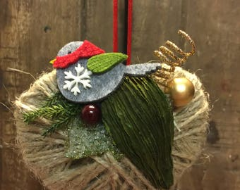 Twine Heart Christmas Ornament, Christmas Ornament, Tree Ornament