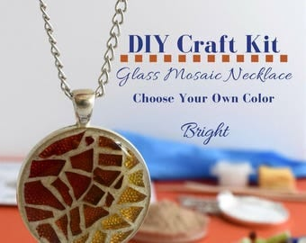 DIY Mom Gifts, Make Your Own Art, Necklace DIY Kit, DIY Christmas Gifts, Glass Mosaic Craft Idea Stocking Stuffer Gift Idea Under 15