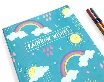 Rainbow Notebook Journal - Lined notebook - Cute journal - Stationery - Writing Journal - Notebook set - Rainbows Unicorn - Journal Diary
