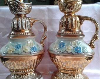 Two Jim Beam Decanter Genuine Regal China 1976 C. Miller Gold with Flowers