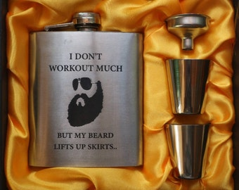 I Don't Workout Much But My Beard Lifts UP Skirts // Gift for Him // Funny Flask // Hip Flask for Men // 21st Birthday Gift // 7 oz