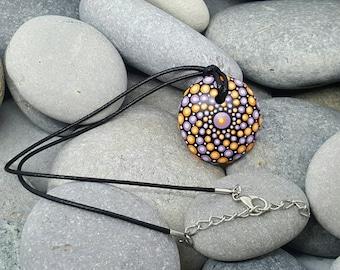 Purple & Orange Mandala Stone Necklace Choker - Painted Rock - Hand-Painted Mandala Rock  - Mandala Pendant - Chakra -  Mandala Art