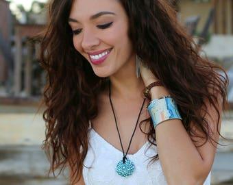 Painted Turquoise Mandala Stone Necklace - Paint Rock - Mandala Rock - Dot Jewelry - Mandala Art - Hand-Painted Pendant Stone - Chakra